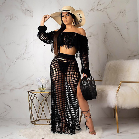 2 Piece Set Women Crochet Tassel Crop Top Maxi Skirt
