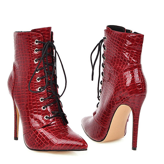 Sexy Ankle Cowboy Boots  Snake Red