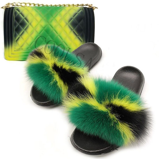 Fox Fur Slides with Matching Colorful Jelly Bag