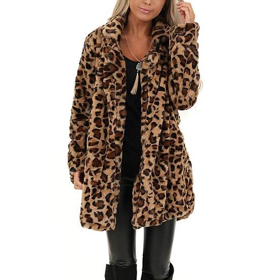 Leopard Faux Fur Pocket Fuzzy Coat