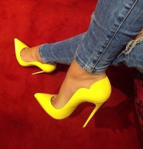 Pointed Toe High Heel Shoes Yellow