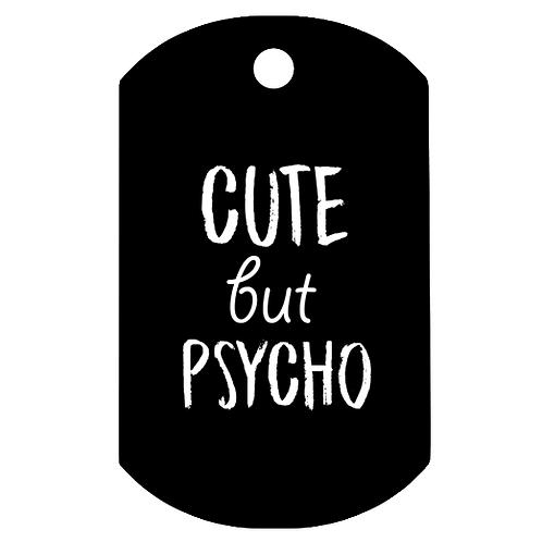 "Adresówka nieśmiertelnik ""Cute but psycho"""