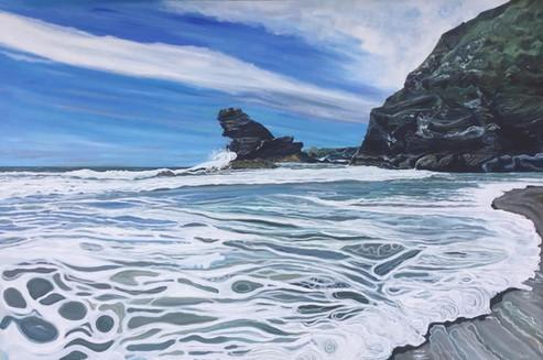 Llangrannog, First Beach, Acrylic on canvas, 150 x 100cm, August 2021.jpg