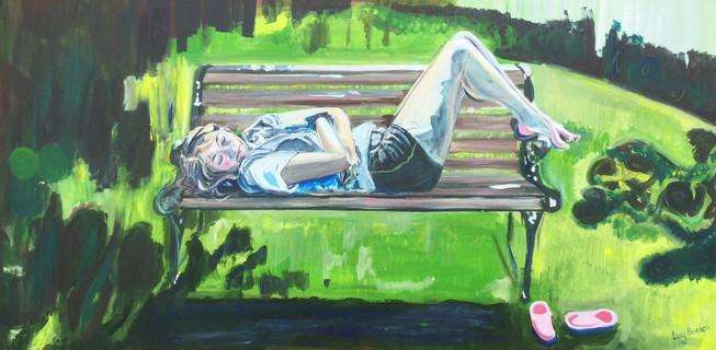 Asleep on the Garden Bench