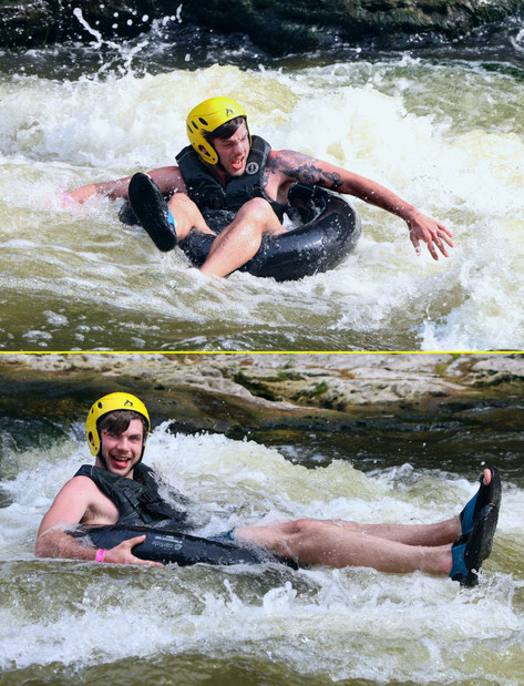 Tube riders can take on the rushing white waters of the Grand River where it cuts through the Elora Gorge.