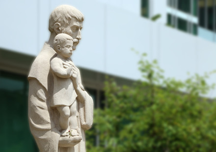 St. Joseph stands watch outside the hospital bearing his name