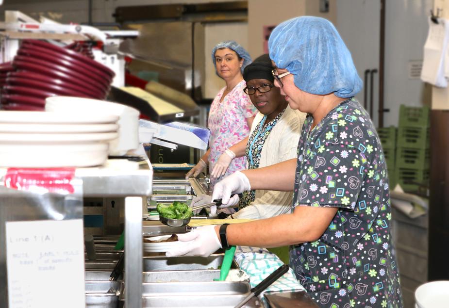 Kitchen staff at Parkwood Institute