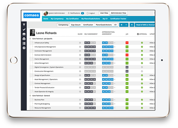 Image showing the cmptency assessment screen in comaea