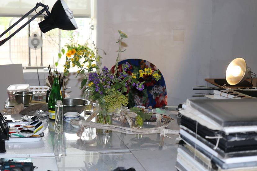 Lighthouse works studio, the last stilllife with the flower arrangement given on Sunday by Harry & Ellen Parker, June 20, 2021
