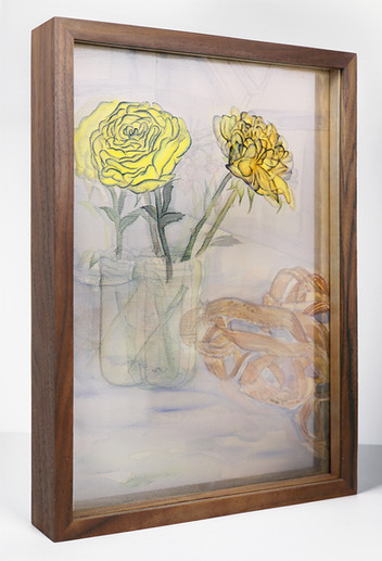 Stilllife with Two Yellow Roses after Rocío, 2019