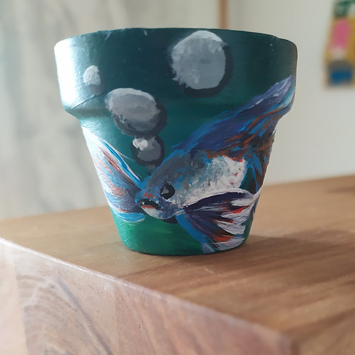 Mini Terracotta Pot - fish