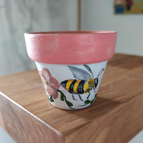 Mini Terracotta Pot - Bee