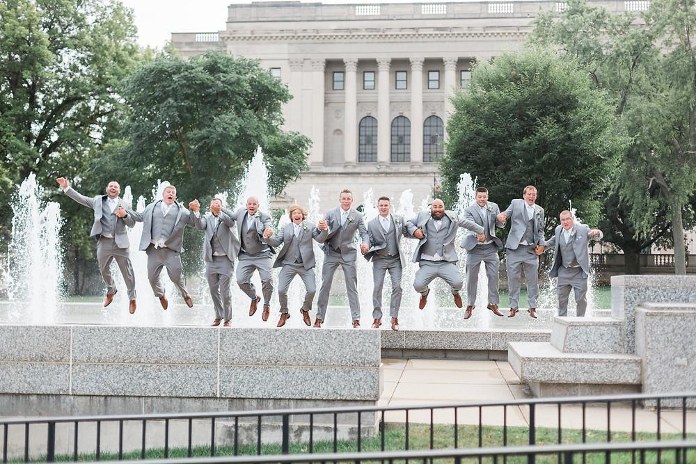groomsmen photo jumping Springfield Illinois wedding photographer