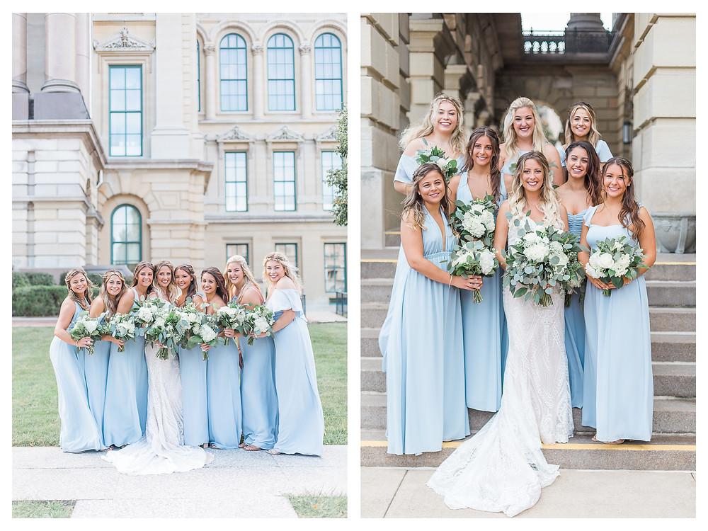 Springfield Illinois state capitol bridal portraits bridesmaids