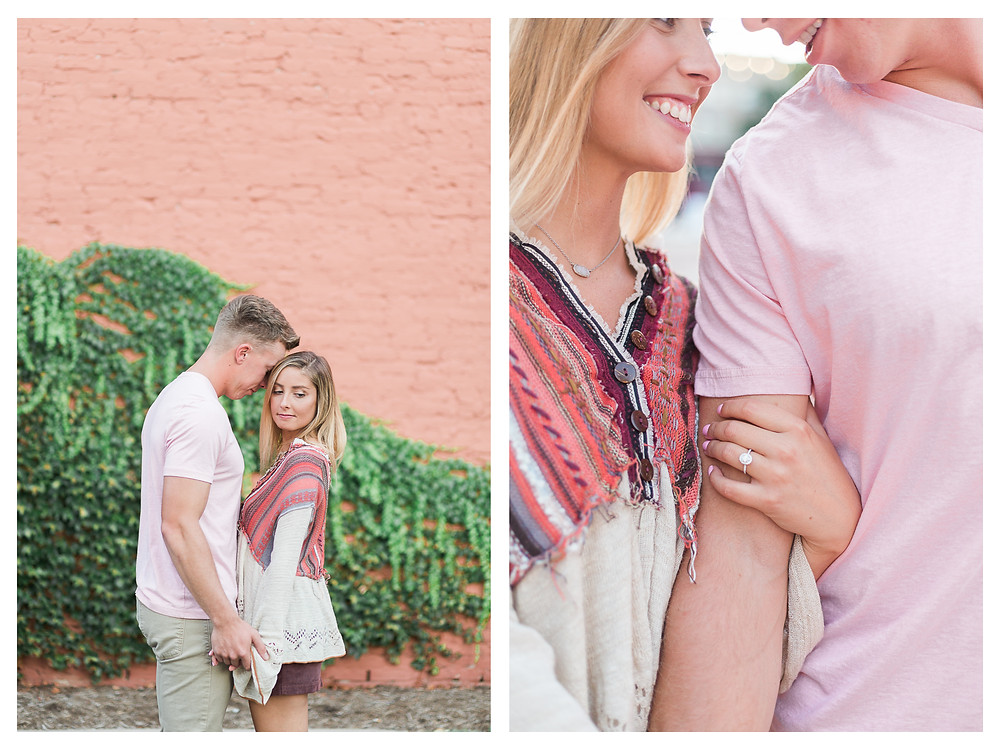 downtown Springfield Illinois engagement session ivy wall
