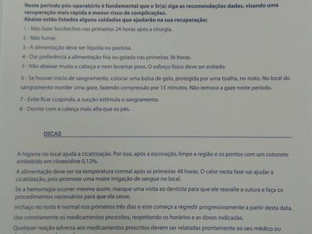 Instruções PÓS-OPERATÓRIAS