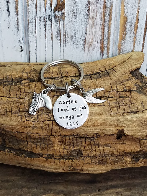 """Horses lend us the wings we lack"" Key Ring"