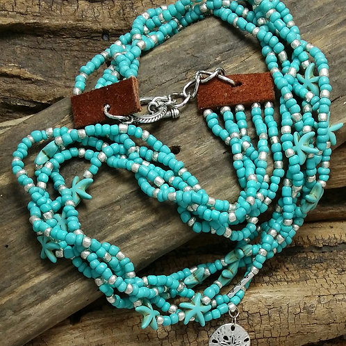 Boho, Hippy, Turquoise Necklace, Ocean Theme