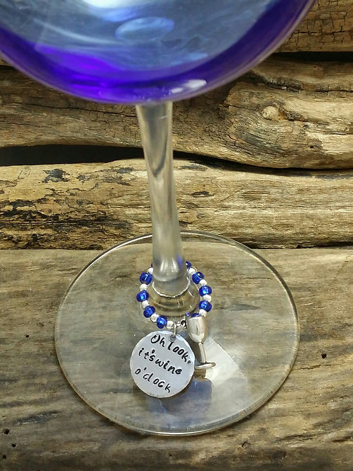 """Oh look, its wine o'clock"" wine glass charm"