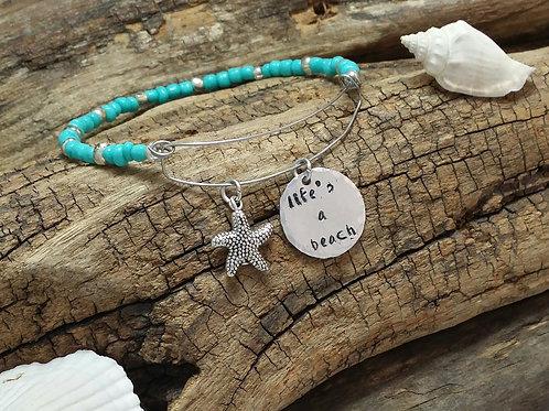 """lifes a beach"" Boho, hippy, bangle bracelet"