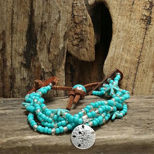 Boho, Hippy, Leather multi strand Ocean Bracelet
