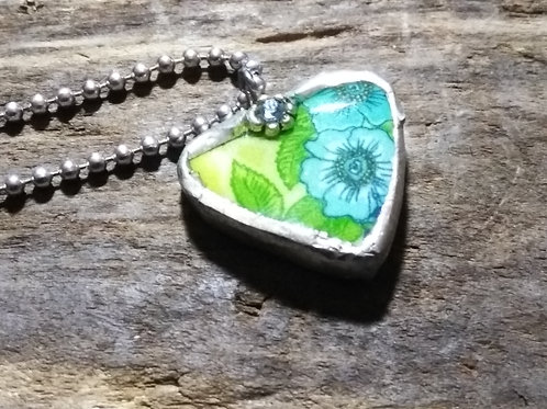 Recycled Pottery, Heart Pendant
