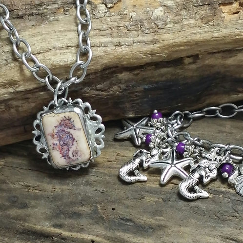 Recycled soldered seahorse pendant & bracelet set