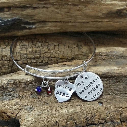 """My heart belongs to a police officer"" Bangle"