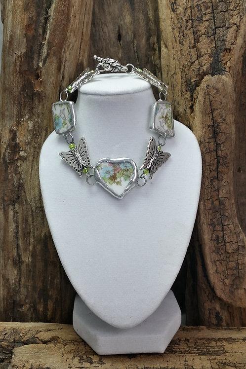 Recycled broken pottery/china Floral Bracelet