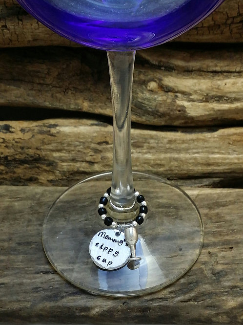 """Mommys sippy cup"" wine glass charm set of 4"