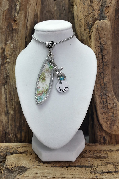Recycled pottery/china necklace, inspirational