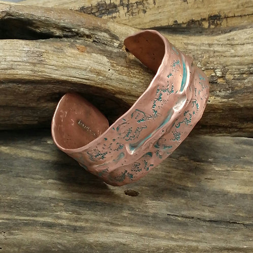 Recycled Copper, Hammered Cuff Bracelet