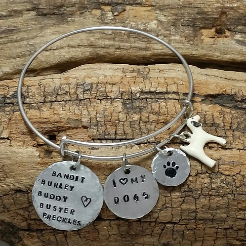 """""""I love my Dog(s)"""" Bangle Bracelet, Personalize"""