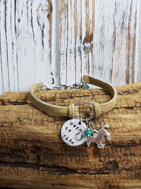 "Leather ""Born to ride"" Hand Stamped Bracelet"