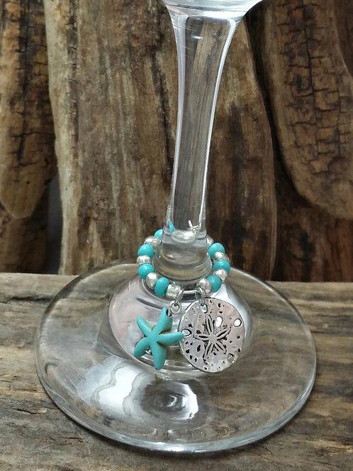 Sand dollar, Ocean theme wine glass charm