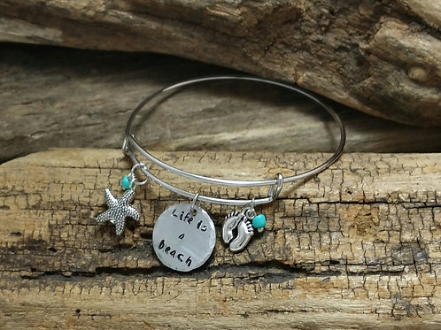 """life is a beach"" Bangle Bracelet"