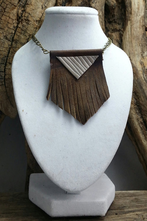 Leather Chevron Necklace, Boho, Hippy