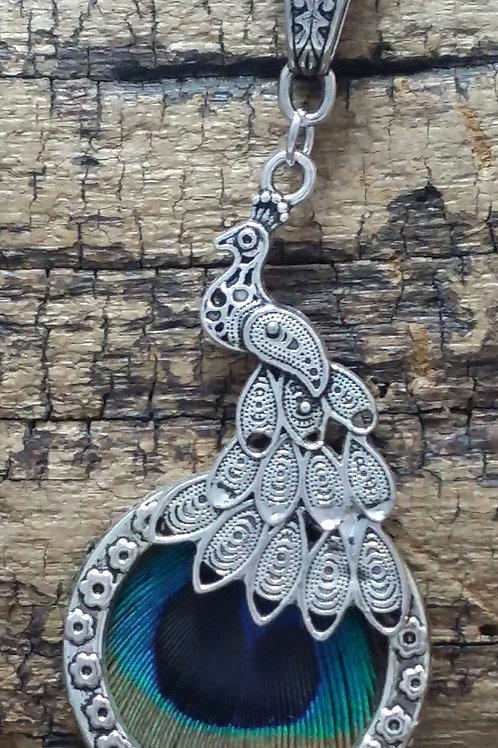Boho, Hippy, Peacock Feather necklace