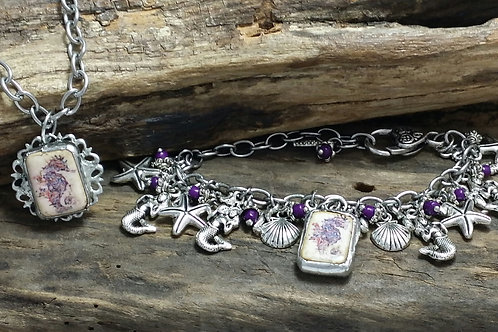 Recycled soldered seahorse chunky charm bracelet