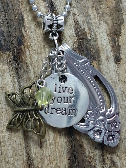 """Recycled flatware necklace """"Live your dream"""""""