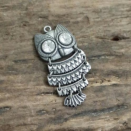 Owl Pendant, SIlver Tone, Rhinestone Eyes 45 mm
