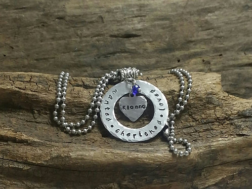 Adoption necklace with birthstone, Personalized