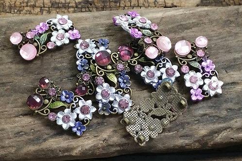 Rhinestone and enameled flower connectors/findings