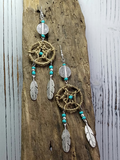 Native American, Boho Hippy Dream Catcher Earrings