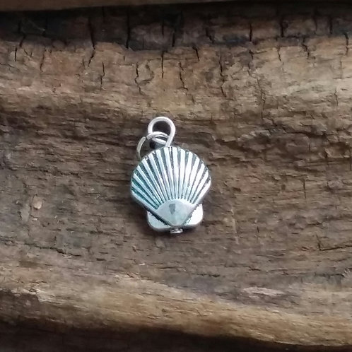 Clam shell charm, with jump ring, 15 mm