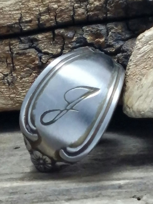 """Recycled """"J"""" initial, Spoon Ring"""