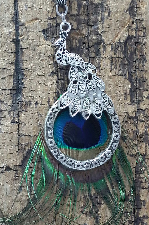 Boho, Hippy, Peacock Feather necklace