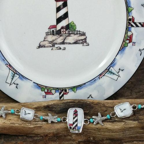 Recycled Broken China/Pottery Lighthouse Bracelet