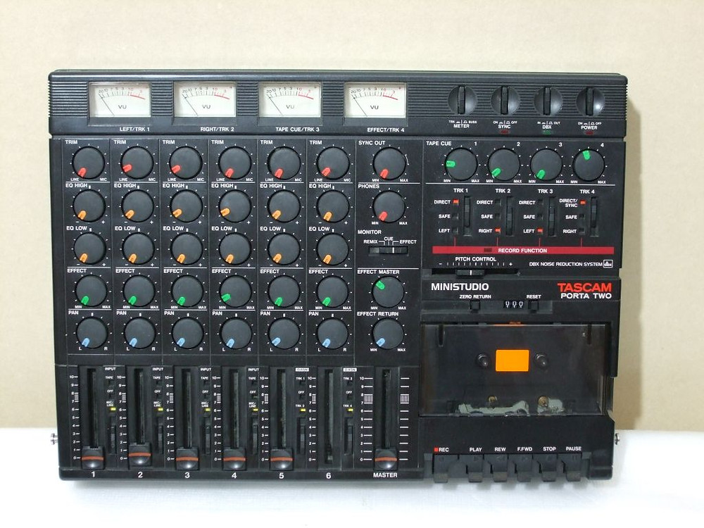 Photo courtesy of OldSchoolDAW.com. My first multitrack recording machine, a Tascam Porta Two