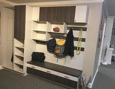 Built-in mudroom cabinet in our showroom at 10565 Redoubt Road, Manassas, VA